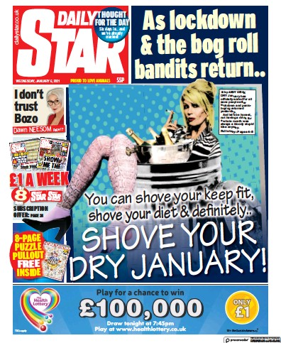 Daily Star Newspaper Front Page (UK) for 6 January 2021