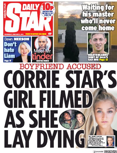 Daily Star Newspaper Front Page (UK) for 6 February 2019