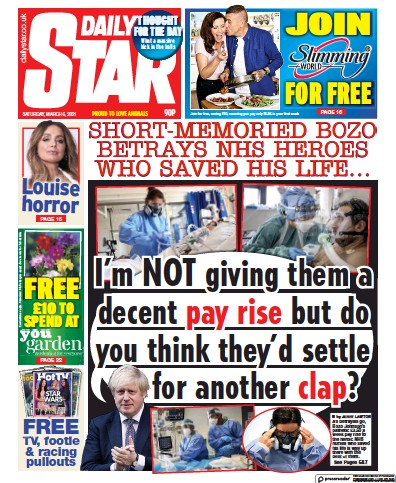 Daily Star Newspaper Front Page (UK) for 6 March 2021