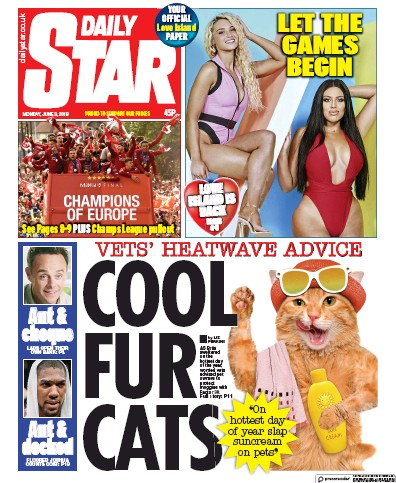 Daily Star Newspaper Front Page (UK) for 6 June 2019