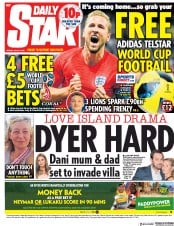 Daily Star (UK) Newspaper Front Page for 6 July 2018