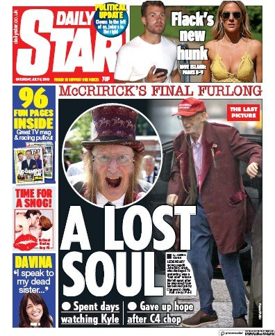 Daily Star Newspaper Front Page (UK) for 6 July 2019