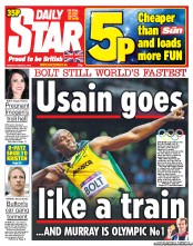 Daily Star Newspaper Front Page (UK) for 6 August 2012