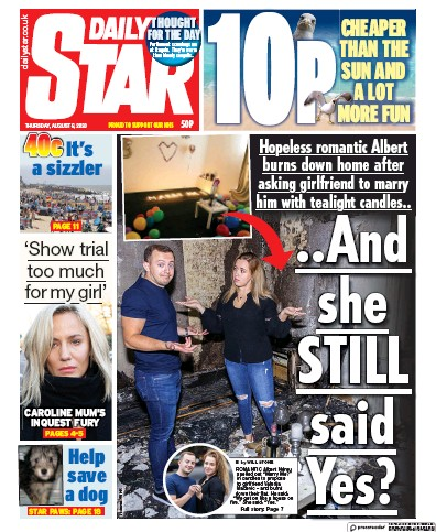 Daily Star Newspaper Front Page (UK) for 6 August 2020