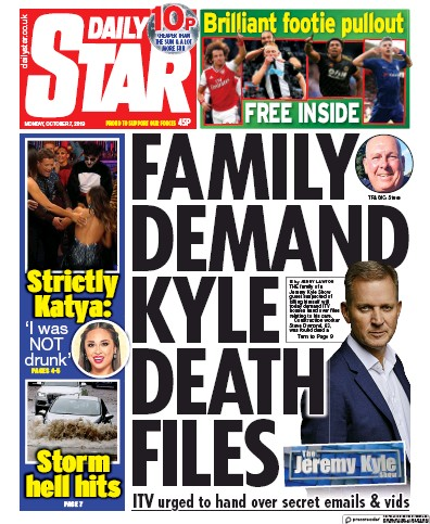 Daily Star Newspaper Front Page (UK) for 7 October 2019