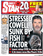 Daily Star (UK) Newspaper Front Page for 7 November 2017