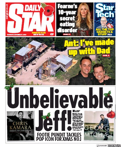 Daily Star Newspaper Front Page (UK) for 7 November 2019