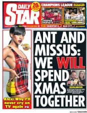Daily Star (UK) Newspaper Front Page for 7 December 2017