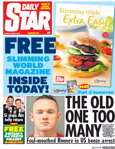 Daily Star Newspaper Front Page (UK) for 7 January 2019