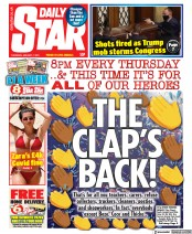 Daily Star (UK) Newspaper Front Page for 7 January 2021