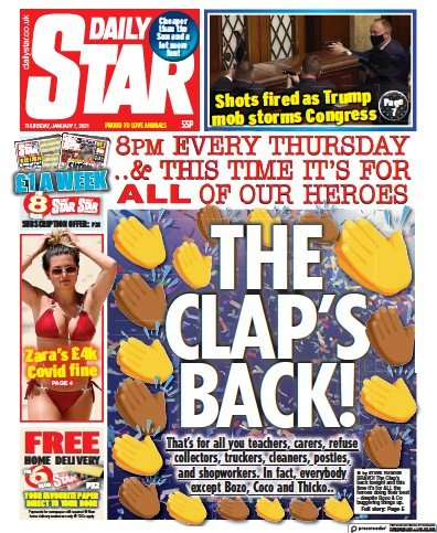 Daily Star Newspaper Front Page (UK) for 7 January 2021