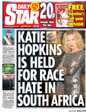 Daily Star (UK) Newspaper Front Page for 7 February 2018