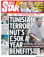 Daily Star (UK) Newspaper Front Page for 7 July 2015