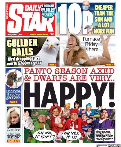 Daily Star Newspaper Front Page (UK) for 7 August 2020