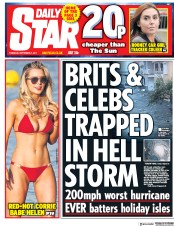 Daily Star (UK) Newspaper Front Page for 7 September 2017