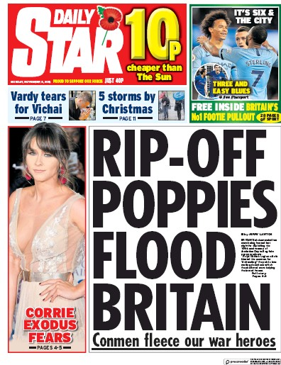 Daily Star Newspaper Front Page (UK) for 8 November 2018
