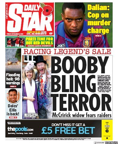 Daily Star Newspaper Front Page (UK) for 8 November 2019