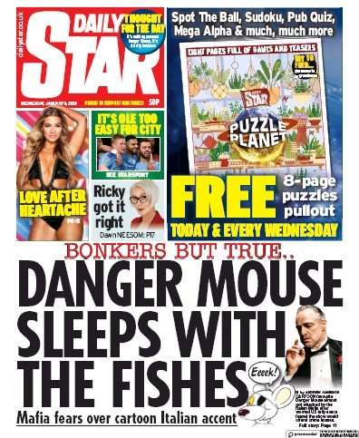Daily Star Newspaper Front Page (UK) for 8 January 2020