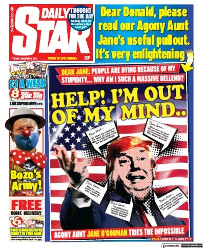 Daily Star Newspaper Front Page (UK) for 8 January 2021