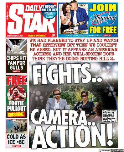 Daily Star Newspaper Front Page (UK) for 8 March 2021
