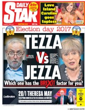 Daily Star (UK) Newspaper Front Page for 8 June 2017