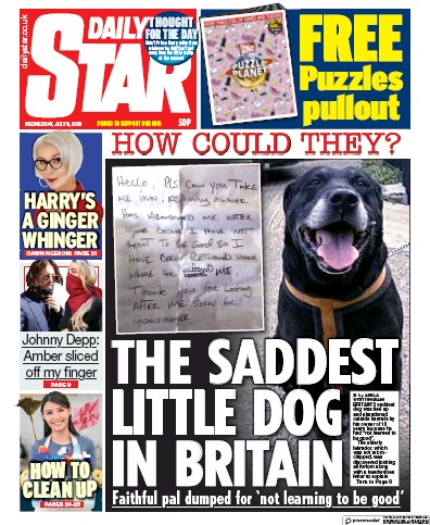 Daily Star Newspaper Front Page (UK) for 8 July 2020