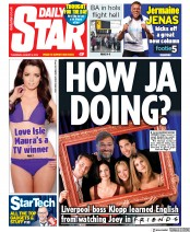 Daily Star () Newspaper Front Page for 8 August 2019