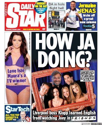 Daily Star Newspaper Front Page (UK) for 8 August 2019