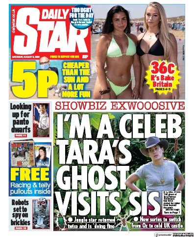 Daily Star Newspaper Front Page (UK) for 8 August 2020