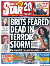 Daily Star (UK) Newspaper Front Page for 8 September 2017