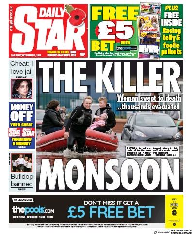 Daily Star Newspaper Front Page (UK) for 9 November 2019