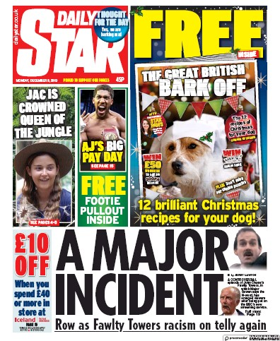 Daily Star Newspaper Front Page (UK) for 9 December 2019