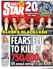 Daily Star (UK) Newspaper Front Page for 9 January 2018