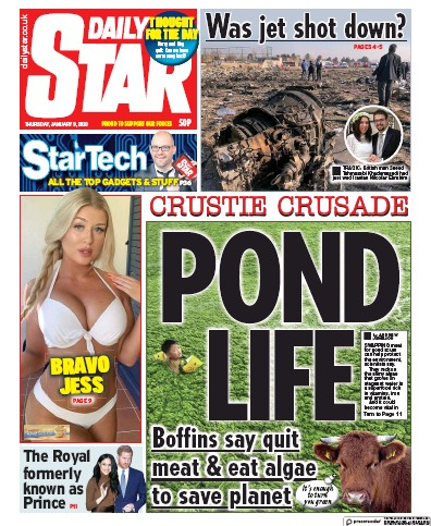 Daily Star Newspaper Front Page (UK) for 9 January 2020