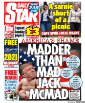 Daily Star (UK) Newspaper Front Page for 9 January 2021