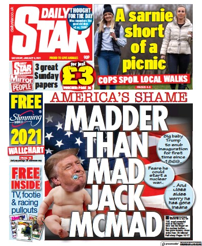 Daily Star Newspaper Front Page (UK) for 9 January 2021
