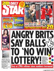 Daily Star (UK) Newspaper Front Page for 9 February 2016