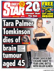 Daily Star (UK) Newspaper Front Page for 9 February 2017
