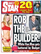 Daily Star (UK) Newspaper Front Page for 9 March 2017