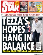 Daily Star (UK) Newspaper Front Page for 9 June 2017