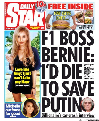 Daily Star Newspaper Front Page (UK) for 9 July 2019