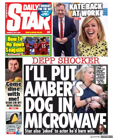 Daily Star Newspaper Front Page (UK) for 9 July 2020