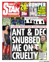 Daily Star Sunday (UK) Newspaper Front Page for 10 November 2019