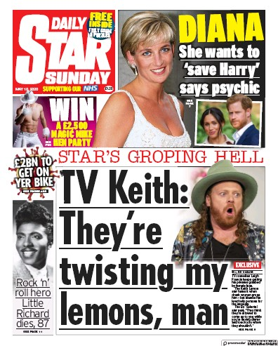 Daily Star Sunday Newspaper Front Page (UK) for 10 May 2020