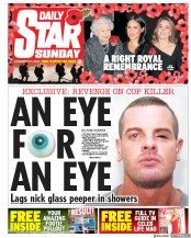 Daily Star Sunday (UK) Newspaper Front Page for 11 November 2018