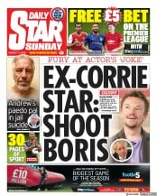 Daily Star Sunday (UK) Newspaper Front Page for 11 August 2019