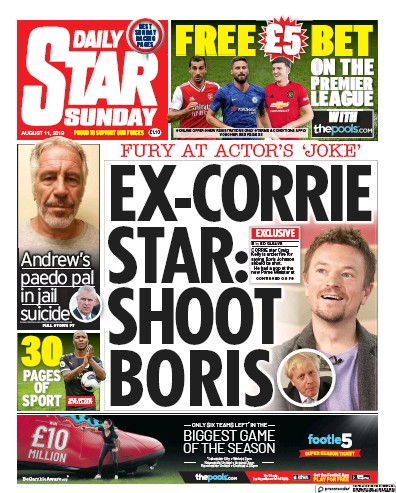 Daily Star Sunday Newspaper Front Page (UK) for 11 August 2019