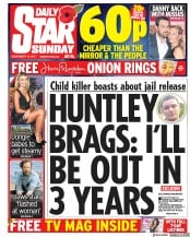 Daily Star Sunday (UK) Newspaper Front Page for 12 November 2017