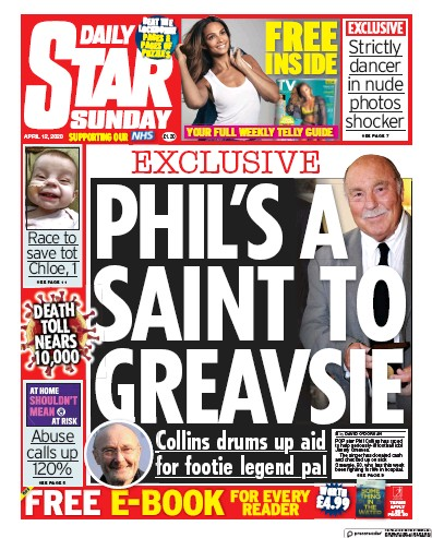 Daily Star Sunday Newspaper Front Page (UK) for 12 April 2020
