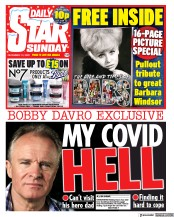 Daily Star Sunday front page for 13 December 2020